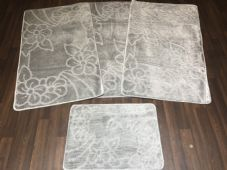 ROMANY GYPSY WASHABLES NEW NON SLIP SETS OF 4 MATS SILVER/GREY CHEAPEST AROUND